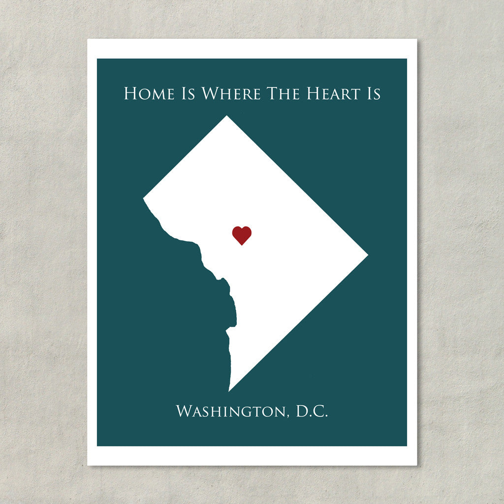 Home Is Where The Heart Is Washington DC Personalized Map Art - Washington dc map art print