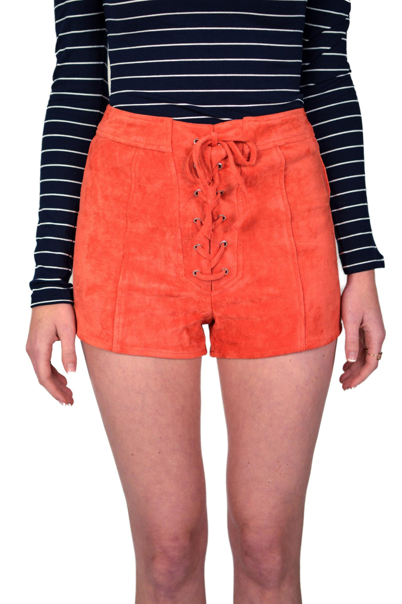 Mink Pink Tied Up Lace Front Shorts