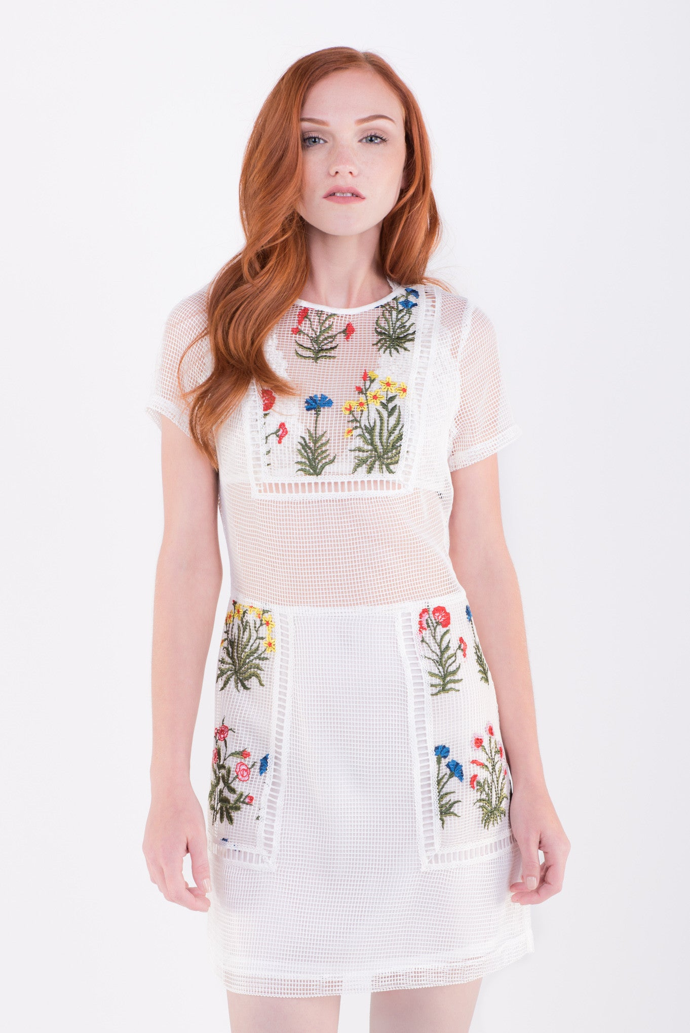 Long Holiday Mesh Embroidered Dress