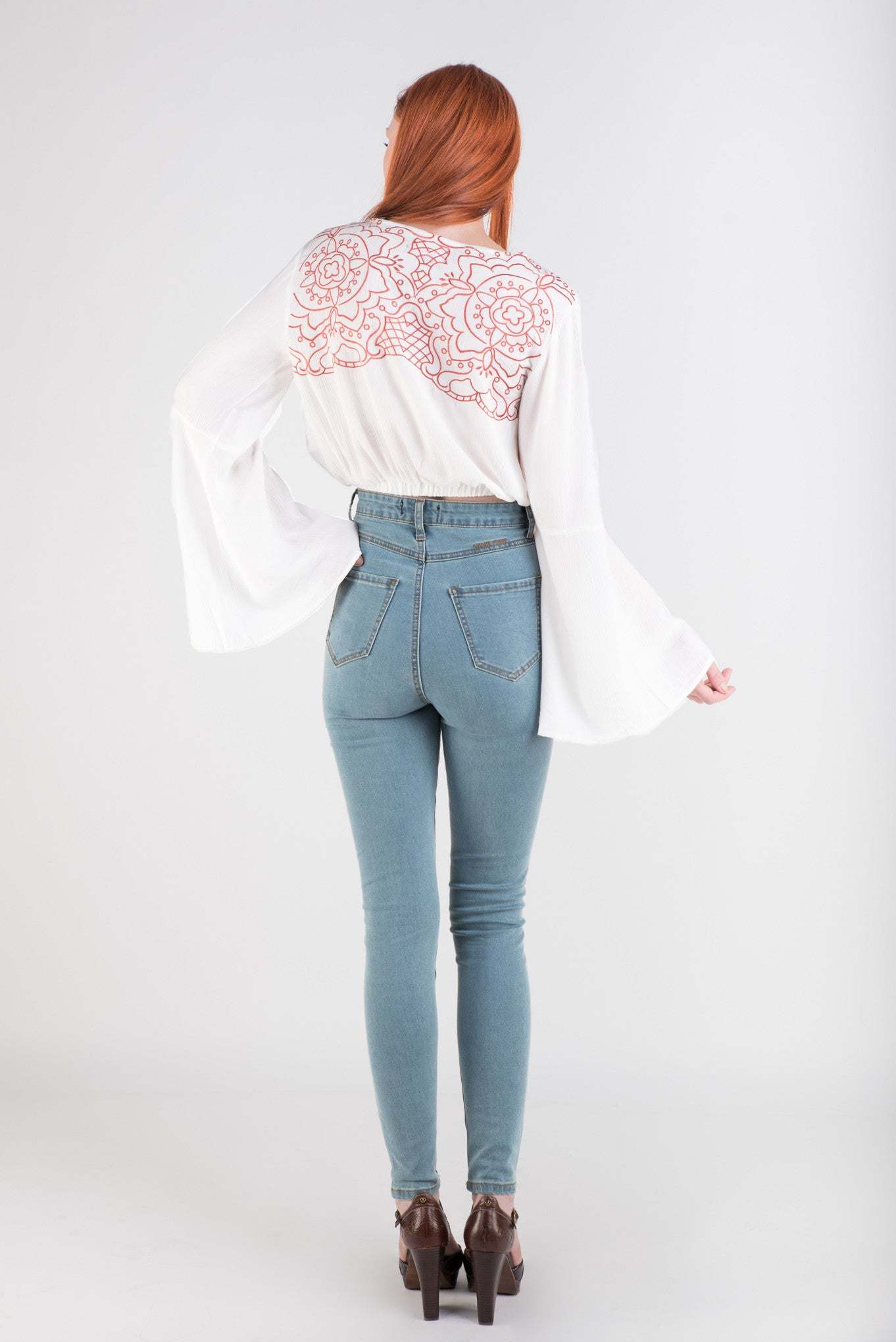 MinkPink Wild Hearts Bell Sleeve Top