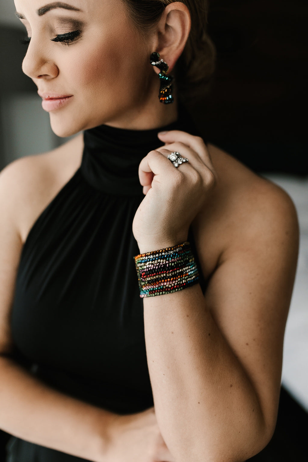 Grace Beaded Cuff Bracelet - Black/Rainbow