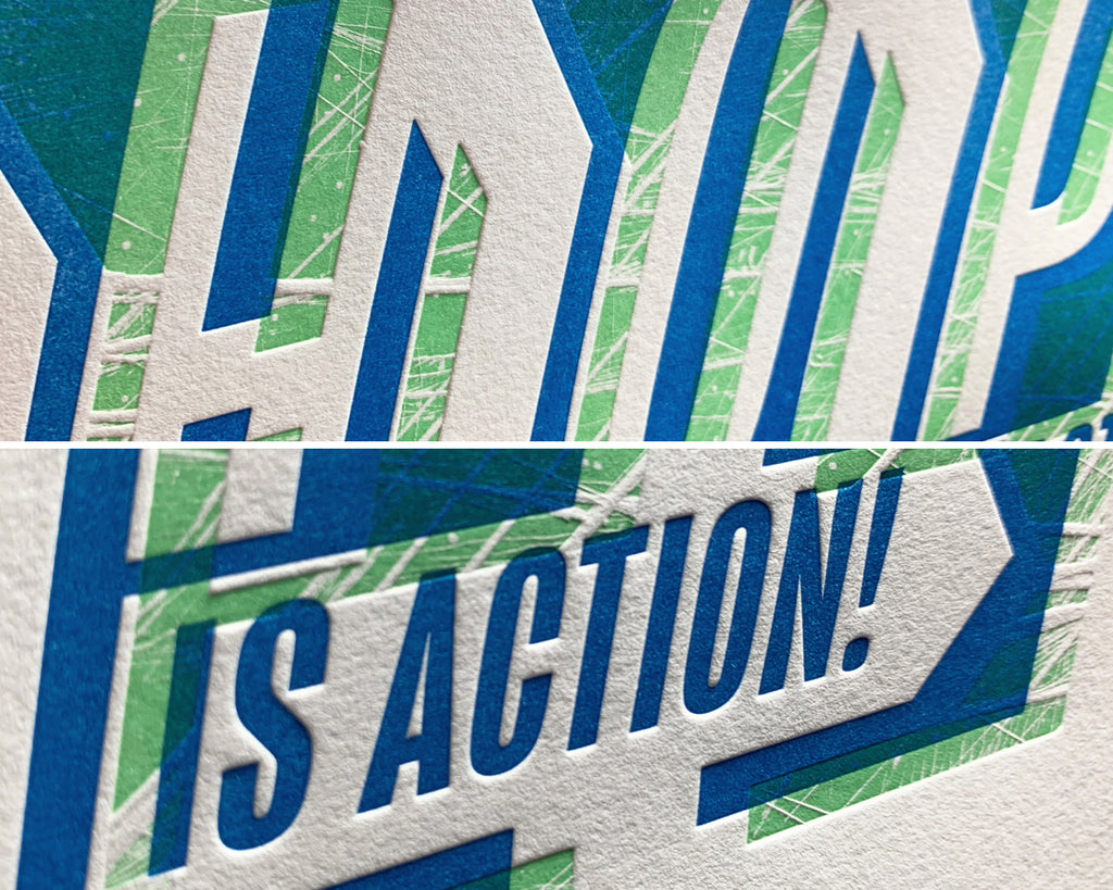 hope is action letterpress print close up