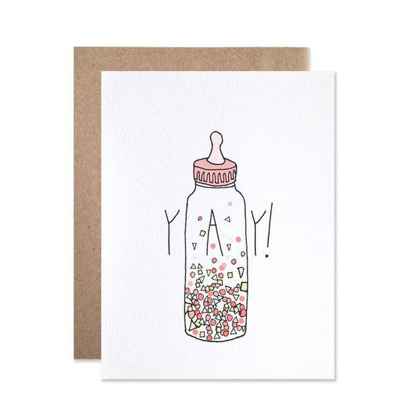 Yay Confetti Baby Bottle Card