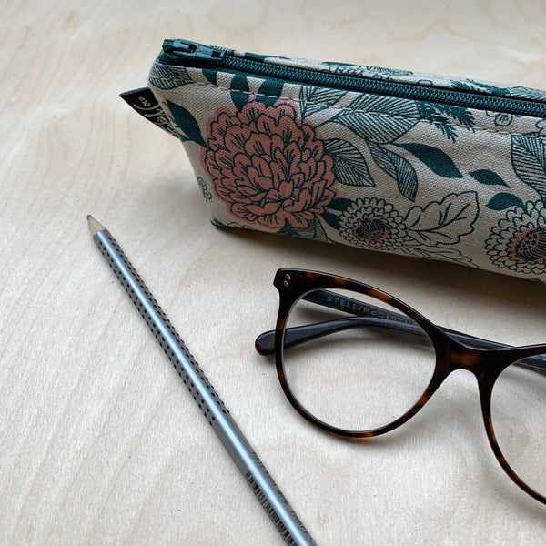 Pencil Case - Emerald Floral