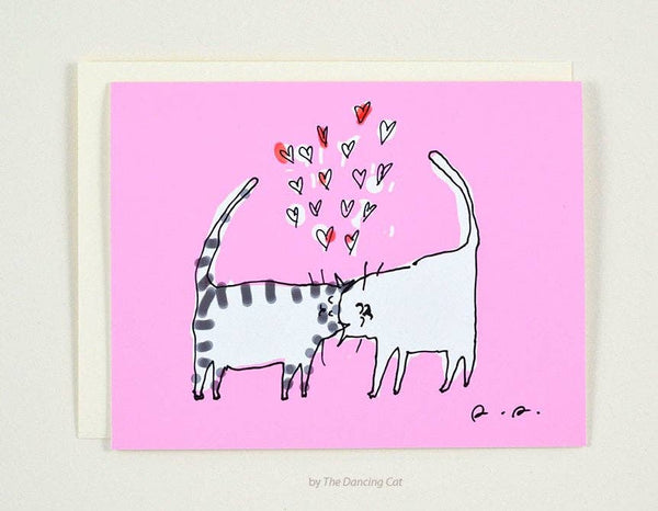 Pink Headbutt Cat Card