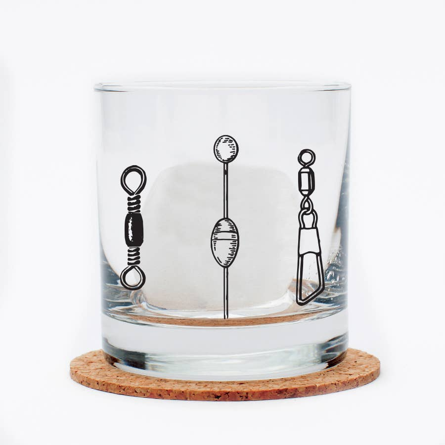 Fishing Lures Whiskey Glass