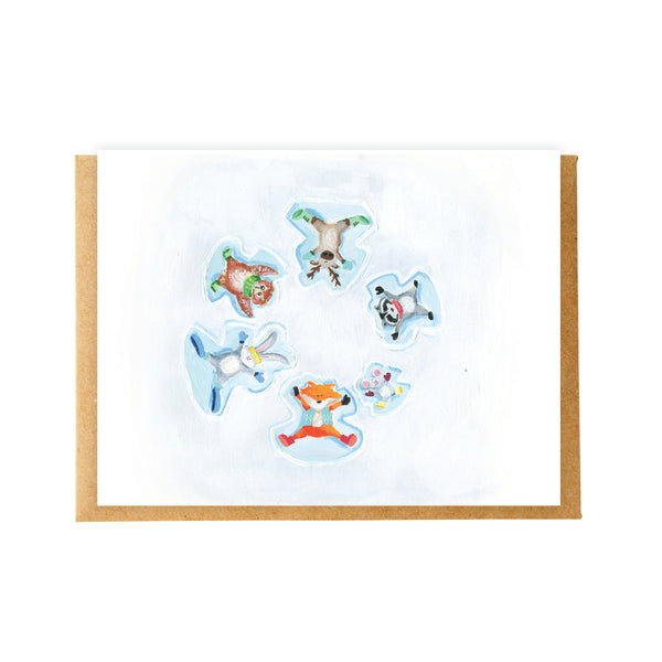Snow Angel Animals Card
