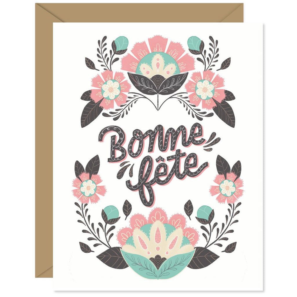 Folk Floral French Birthday Card