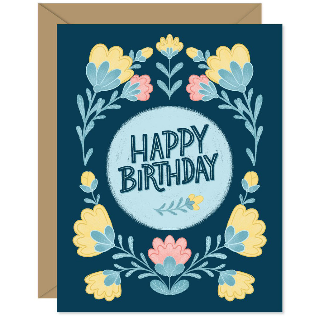 Dark Blue Floral Birthday Card