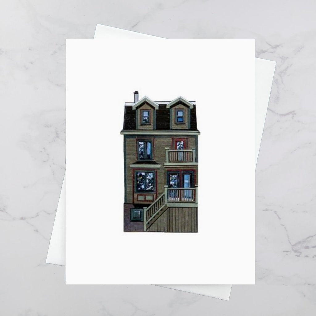 North Park House Collage Card - Olive Green