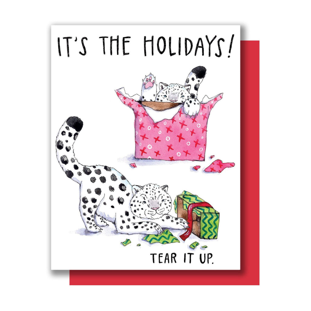 Snow Leopards Holiday Card