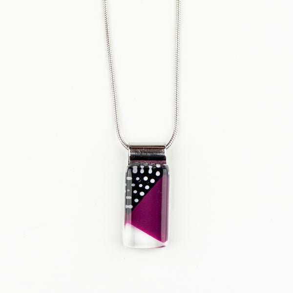 Rectangle Burgundy Retro Handpainted Glass Pendant