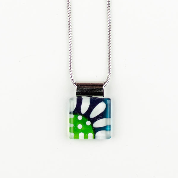 Square Daisy Handpainted Glass Pendant