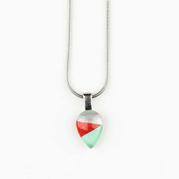 Teardrop Striped Handpainted Glass Pendant