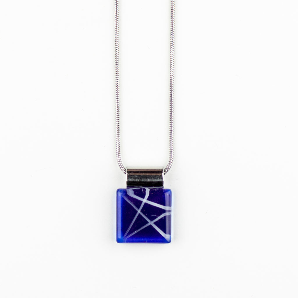 Square White Lines on Blue Handpainted Glass Pendant