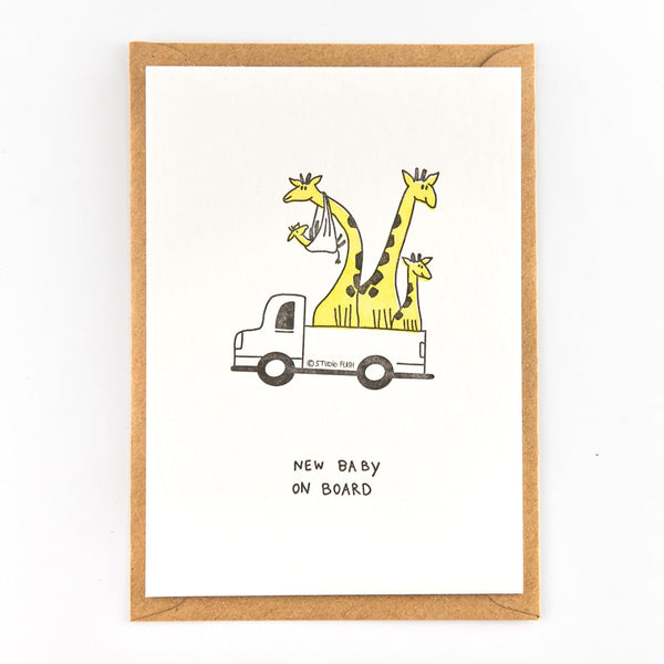 Giraffe Family Flat Card
