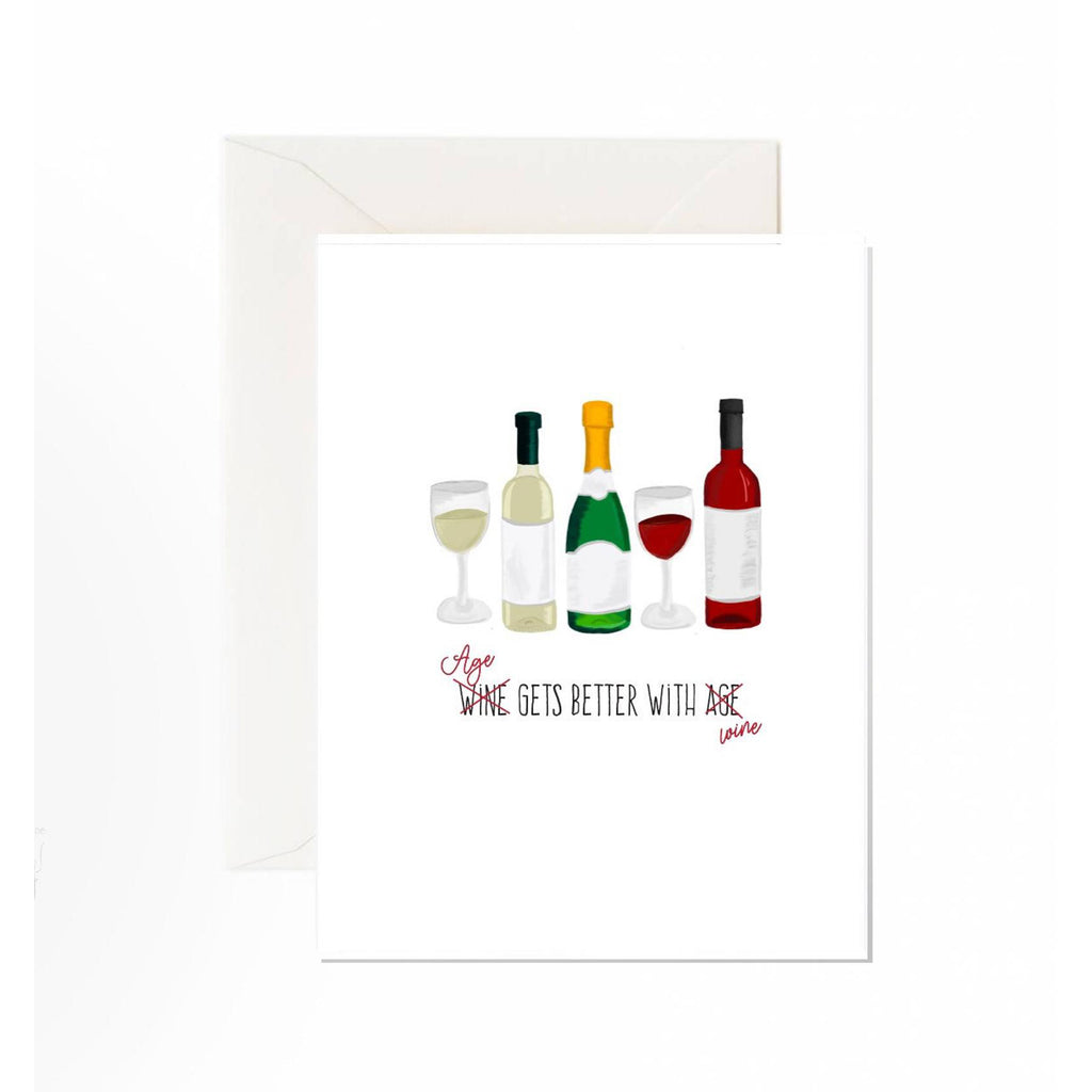 Better with Wine Birthday Card
