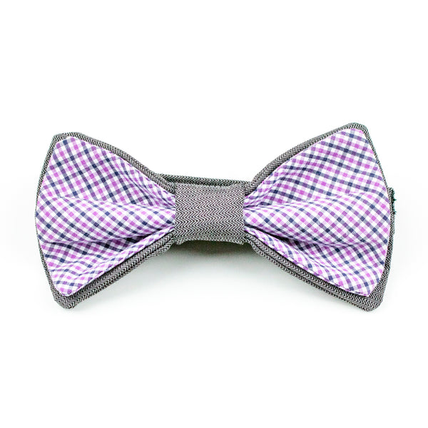 Purple & Grey Plaid Bow Tie
