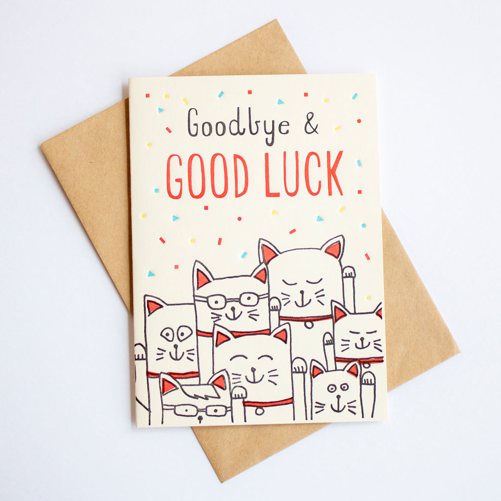 Goodbye & Good Luck Cat Card