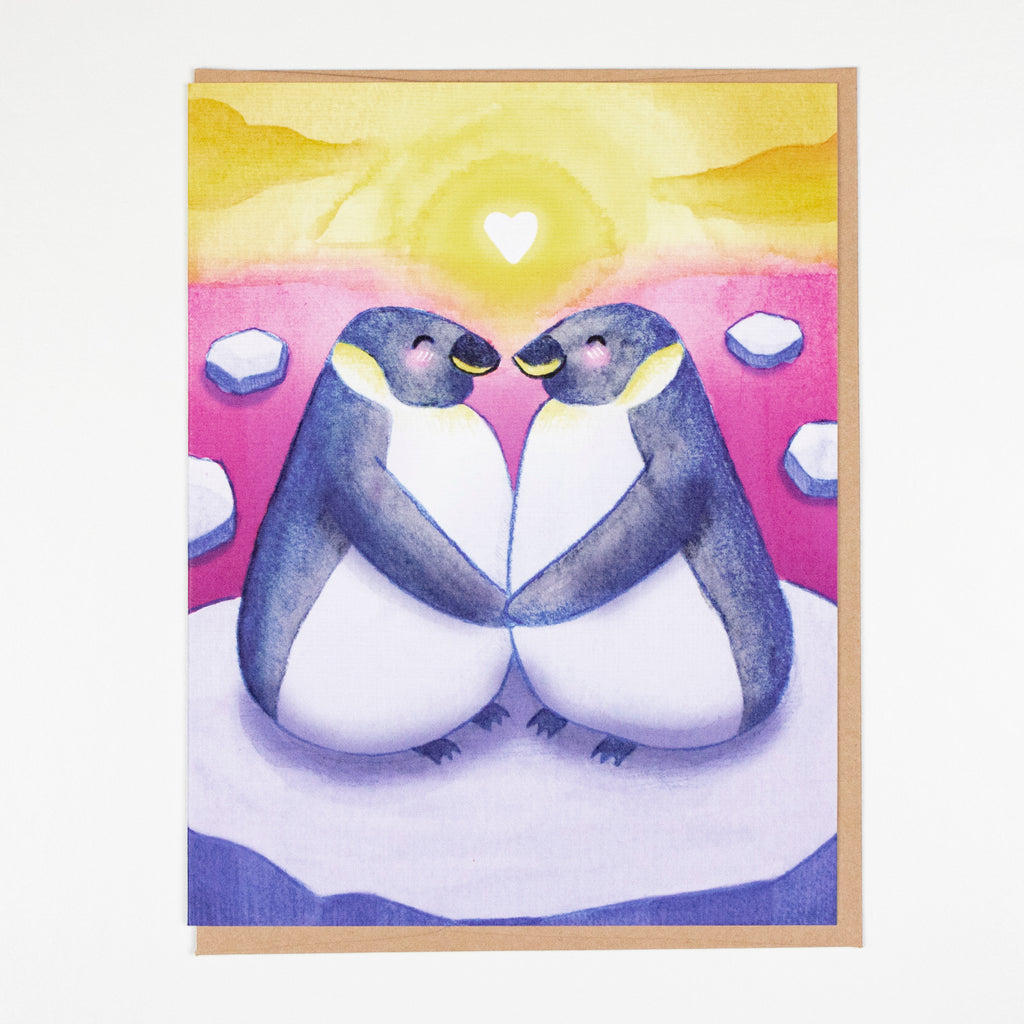 Penguin Sunset Card