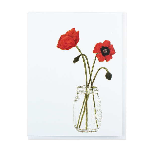 Poppies In Mason Jar Card