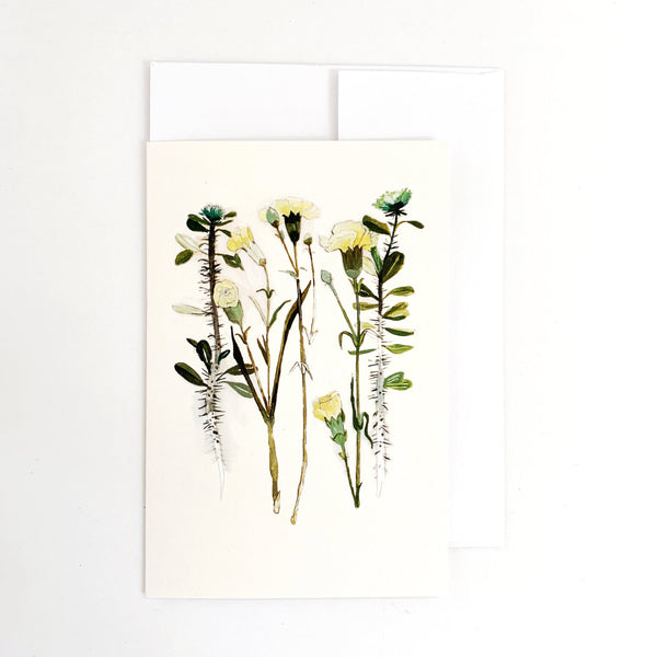 Carnation & Thorny Rose Card