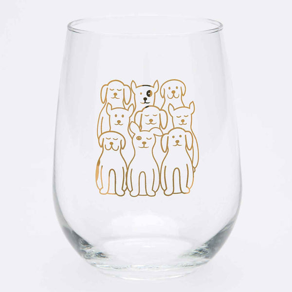 Dogs Stemless Wine Glass