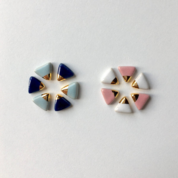Gold Accent Triangle Studs