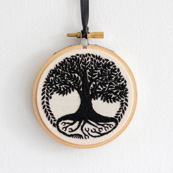 Tree of Life Embroidery - Black Leaves