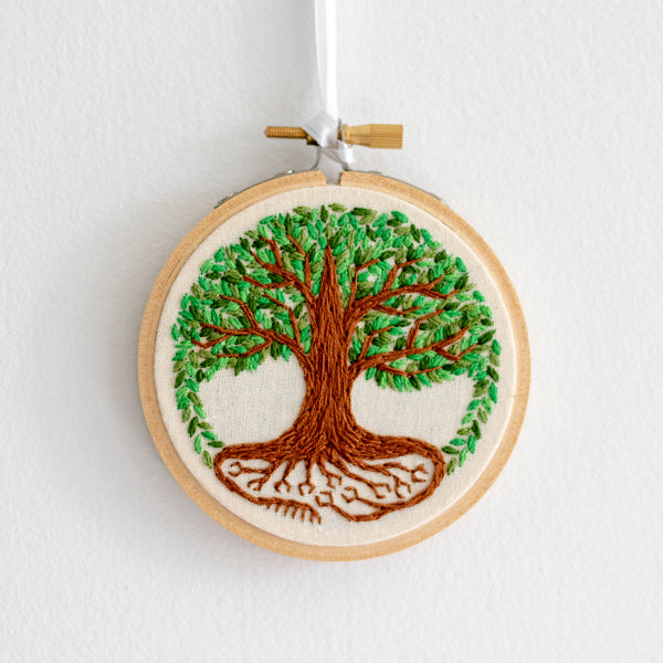 Tree of Life Embroidery - Green Leaves