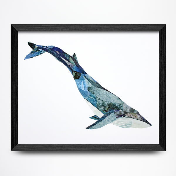 Blue Whale Collage Print