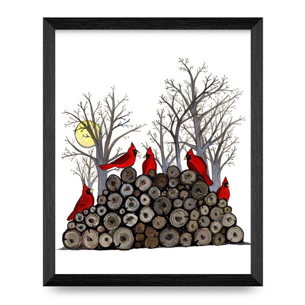 Cardinals on Woodpile 8x10 Print