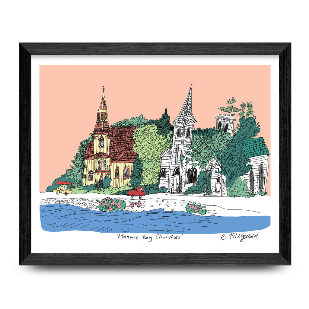 Mahone Bay Churches 11x8.5 Print