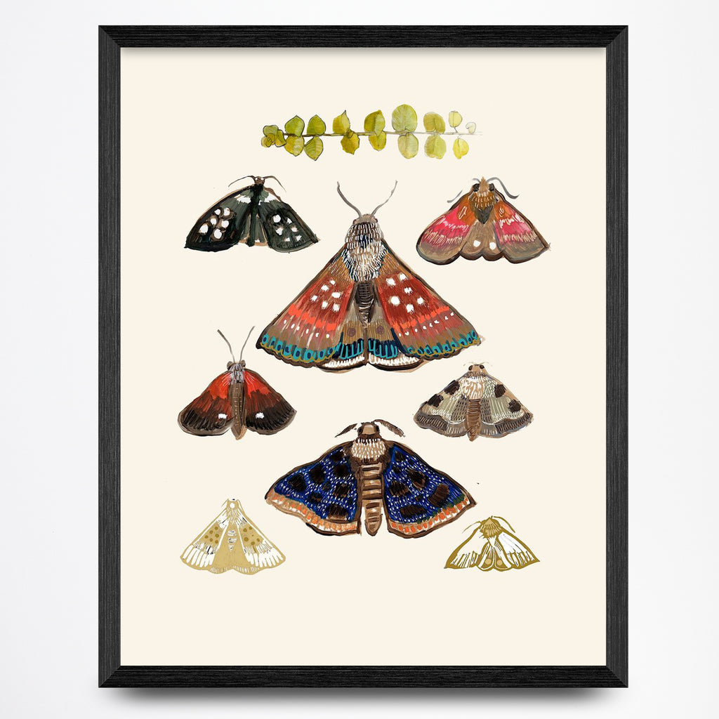Moths on Cream Print