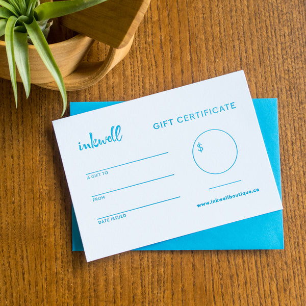 Inkwell Gift Certificate