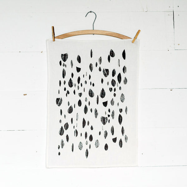 Grey Drops Tea Towel