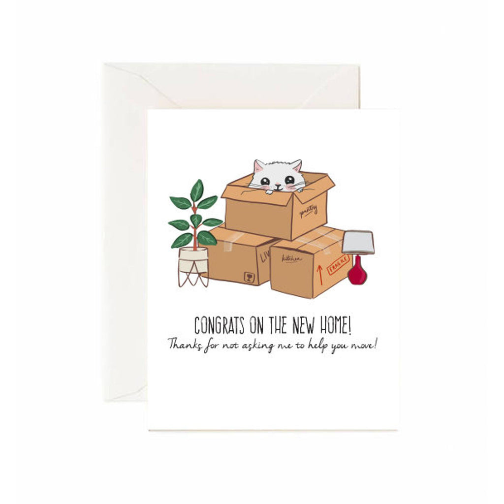 Cat in Box New Home Card