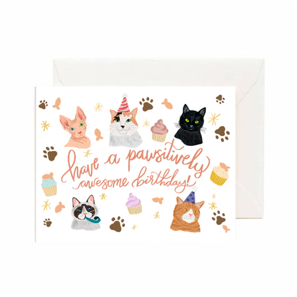 Pawsitively Awesome Cat Bday Card