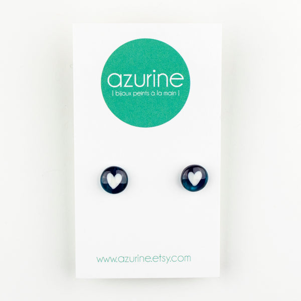 Round Teal Hearts Handpainted Glass Stud Earrings