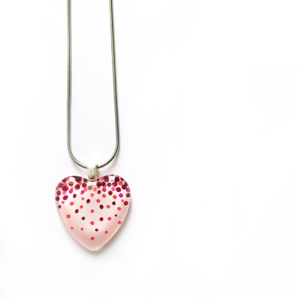 Heart Confetti Handpainted Glass Pendant