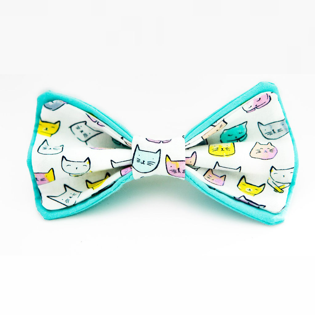 Teal Kitties Bow Tie