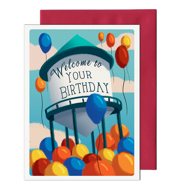 Water Tower Birthday Card