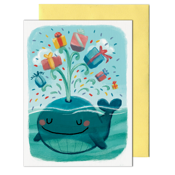 Whale Presents Birthday Card