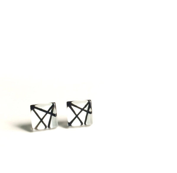 Square Black Lines on White Handpainted Glass Stud Earrings