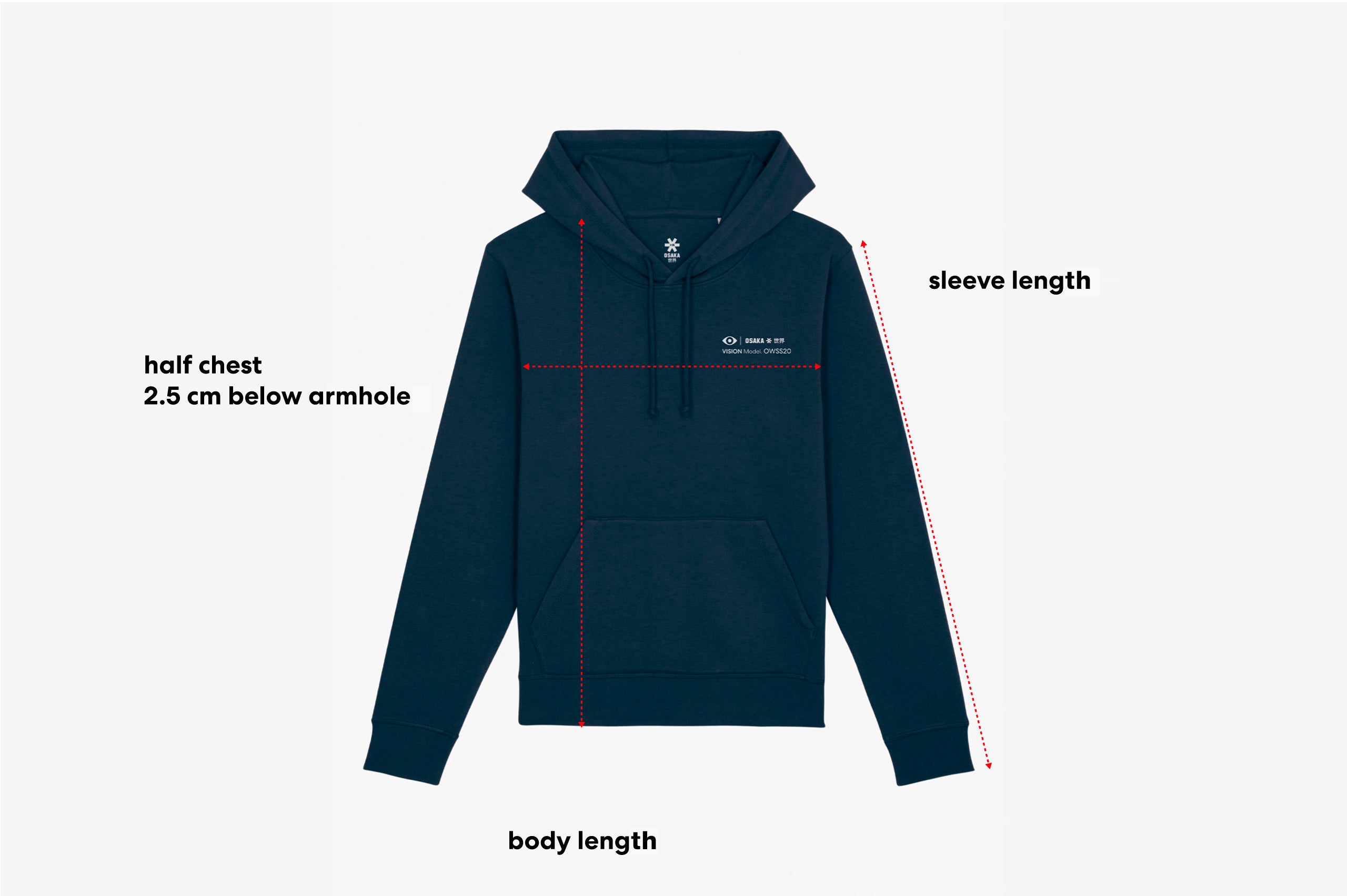 Size guide of an adult hoodie
