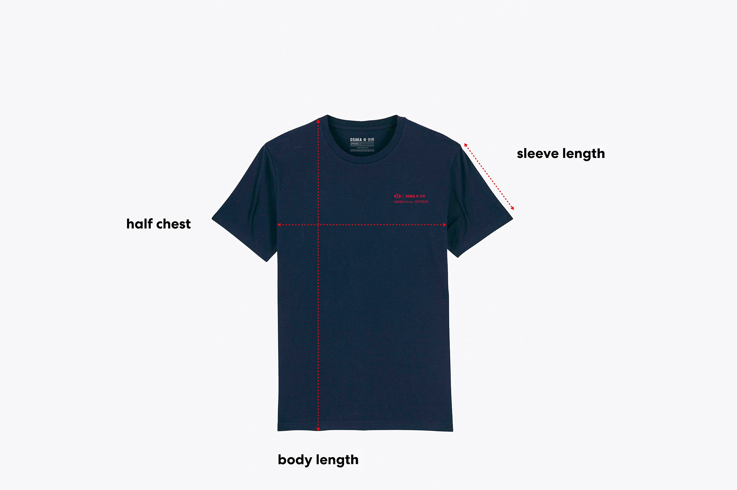 Size guide of an adult tee