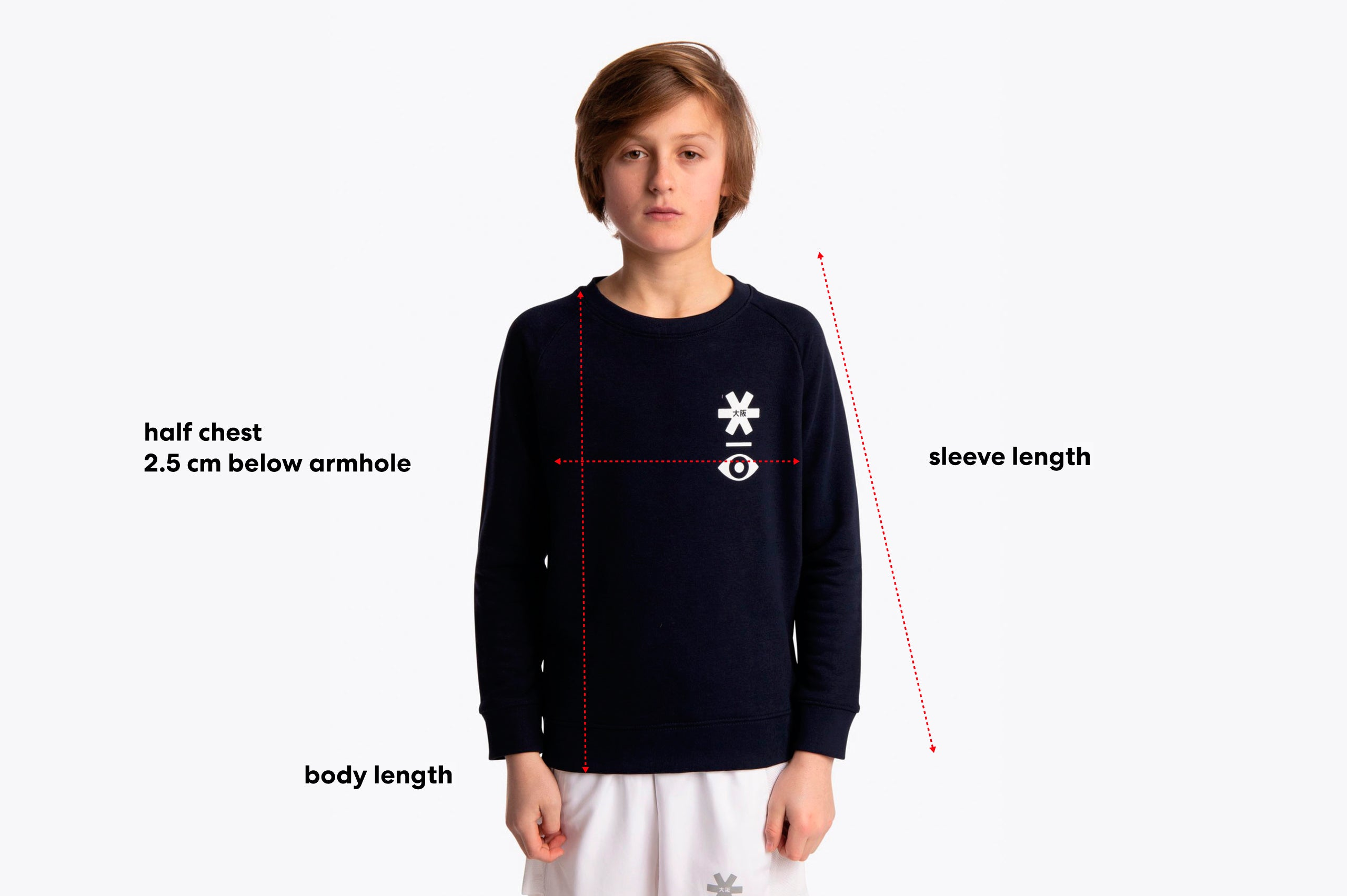 Size guide of a kids sweater