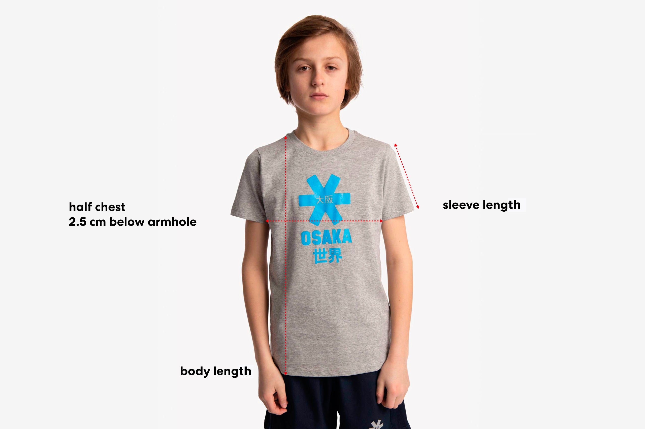 Size guide of a kids tee
