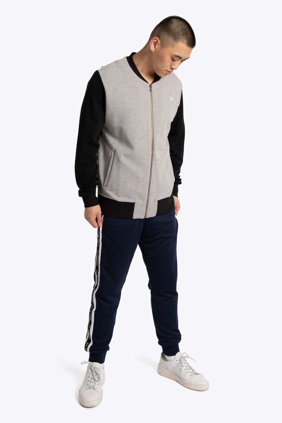 Men Bomber Sweater - Grey / Black