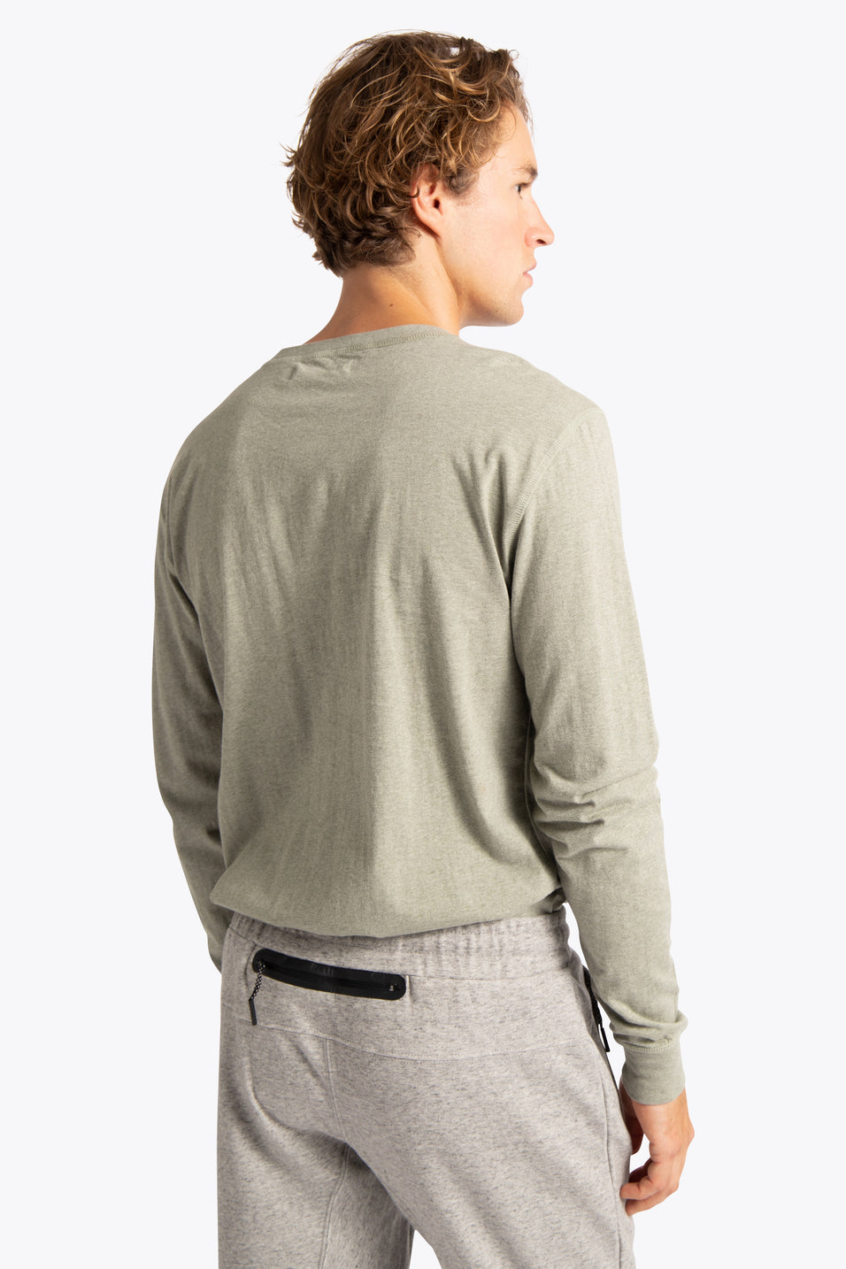 Men Long Sleeve Henley - Mint Green